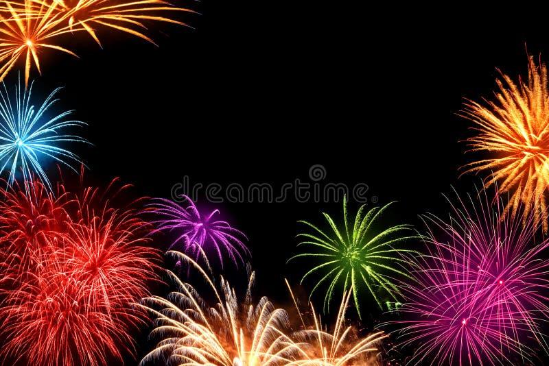 Ζωηρόχρωμα πυροτεχνήματα με το copyspace στοκ εικόνα
