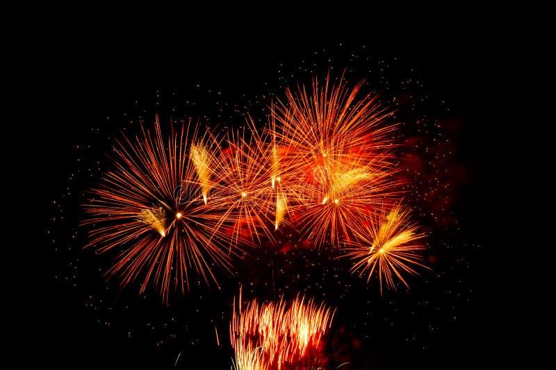 Ζωηρόχρωμα πυροτεχνήματα στο μαύρο ουρανό στοκ φωτογραφίες με δικαίωμα ελεύθερης χρήσης