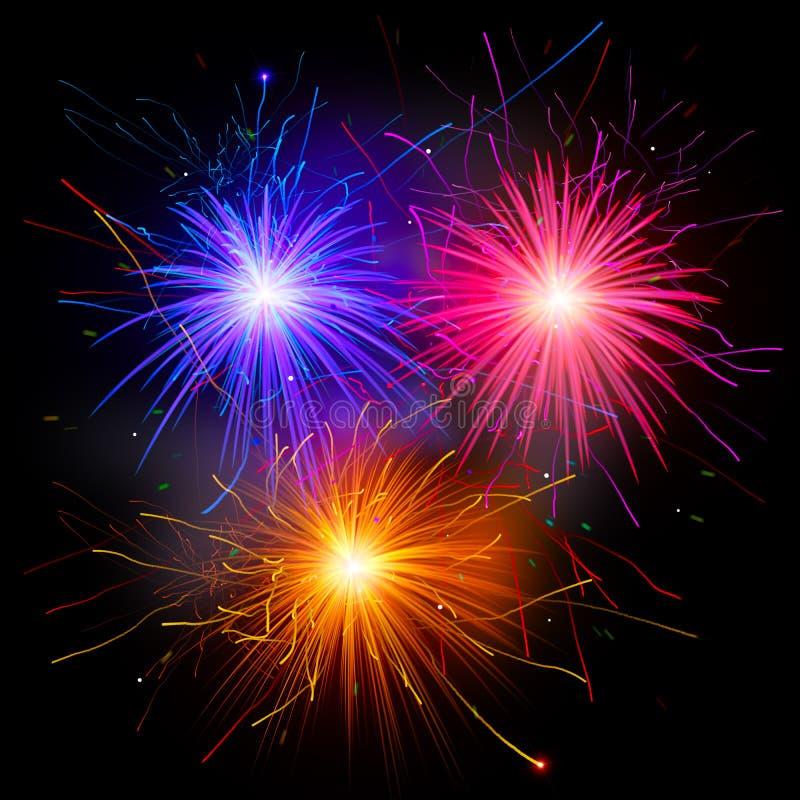 Ζωηρόχρωμα πυροτεχνήματα διανυσματική απεικόνιση