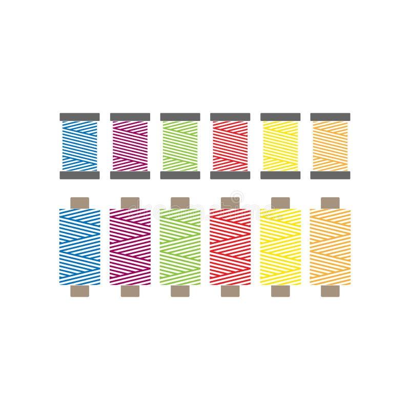 Ζωηρόχρωμα ράβοντας νήματα στο διανυσματικό σύνολο στροφίων Εικονίδια νημάτων στροφίων ελεύθερη απεικόνιση δικαιώματος