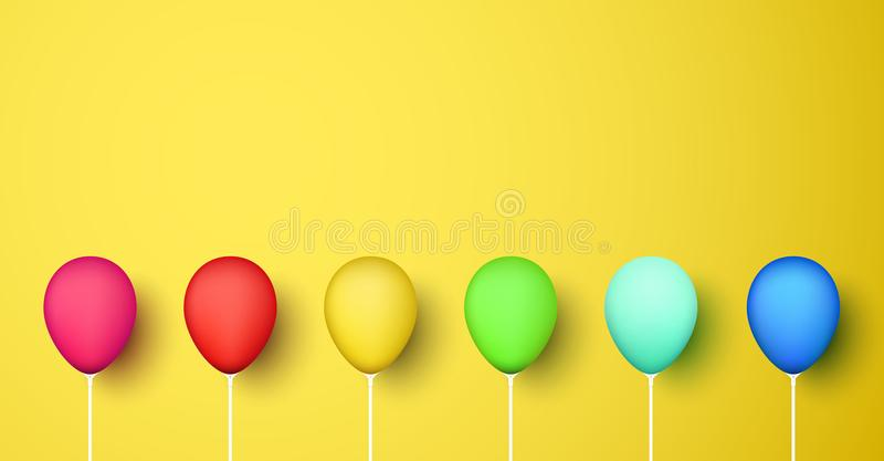 Ζωηρόχρωμα ρεαλιστικά τρισδιάστατα μπαλόνια στο κίτρινο υπόβαθρο απεικόνιση αποθεμάτων