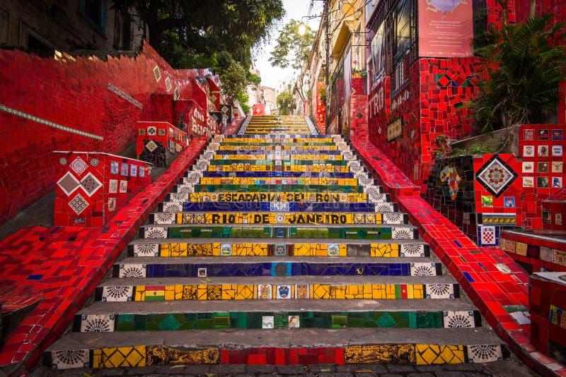 Ζωηρόχρωμα σκαλοπάτια Selaron στο κέντρο Ρίο ντε Τζανέιρο στοκ φωτογραφία με δικαίωμα ελεύθερης χρήσης