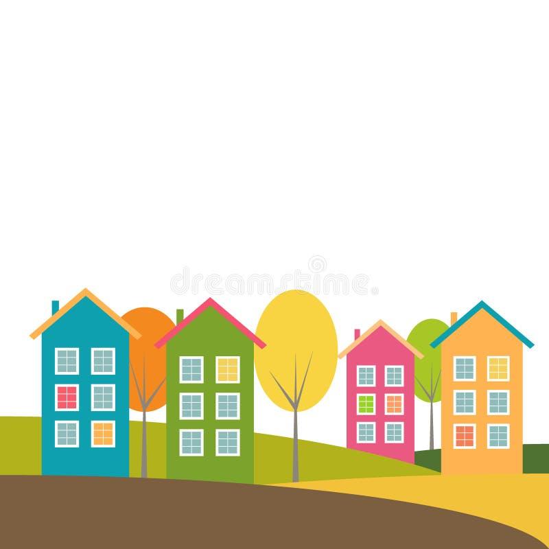 Ζωηρόχρωμα σπίτια, θέμα φθινοπώρου ελεύθερη απεικόνιση δικαιώματος