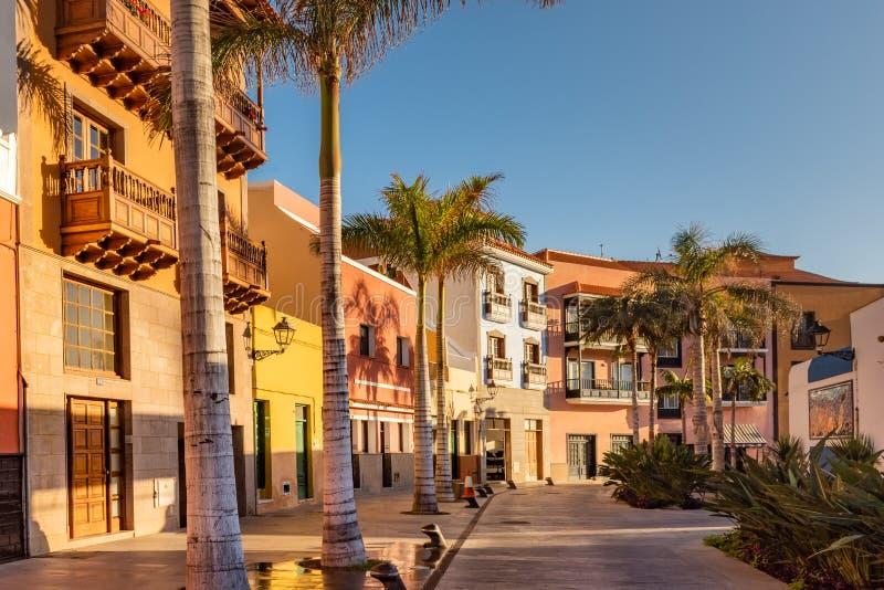 Ζωηρόχρωμα σπίτια, φοίνικας πόλης Tenerife οδών Puerto de Λα Cruz στα Κανάρια νησιά στοκ εικόνα