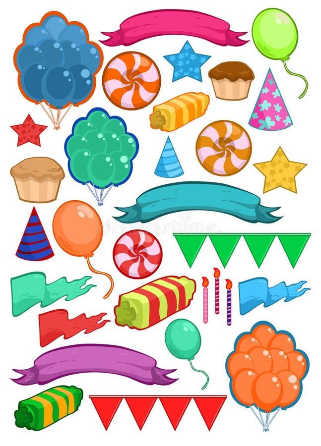 Ζωηρόχρωμα στοιχεία γιορτής γενεθλίων καθορισμένα απεικόνιση αποθεμάτων