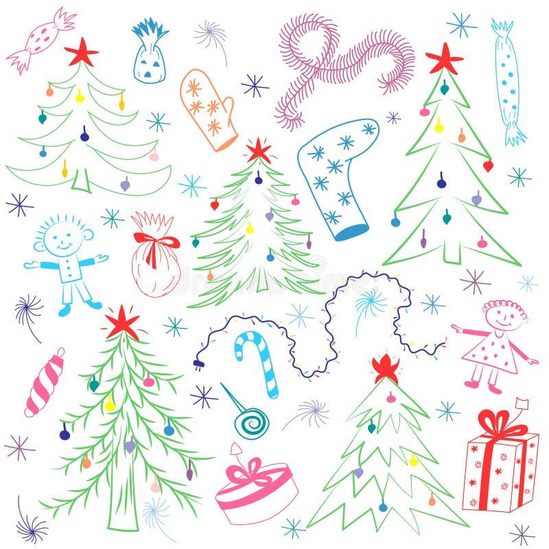 Ζωηρόχρωμα σχέδια παιδιών των δέντρων του FIR Αστεία σύμβολα και παιδιά χειμερινών διακοπών ` s Doodle απεικόνιση αποθεμάτων
