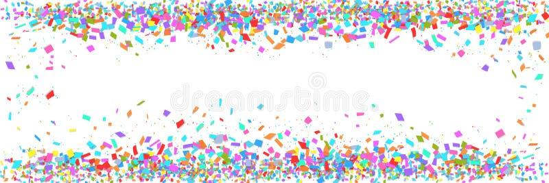 Ζωηρόχρωμα σύνορα κομφετί που απομονώνονται στο άσπρο υπόβαθρο με το διάστημα αντιγράφων Αφηρημένο πρότυπο πλαισίων για το έμβλημ διανυσματική απεικόνιση
