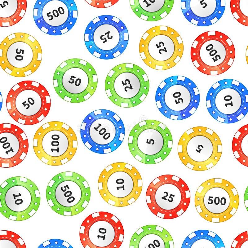 Ζωηρόχρωμα τσιπ χαρτοπαικτικών λεσχών στο άσπρο άνευ ραφής σχέδιο ελεύθερη απεικόνιση δικαιώματος