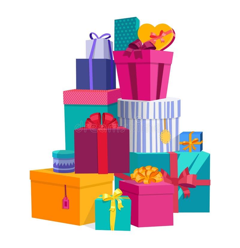 Ζωηρόχρωμα τυλιγμένα κιβώτια δώρων Όμορφο παρόν κιβώτιο με το συντριπτικό τόξο Εικονίδιο κιβωτίων δώρων Σύμβολο δώρων το δώρο κιβ διανυσματική απεικόνιση