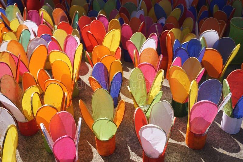 Ζωηρόχρωμα φανάρια κεριών εγγράφου για ένα φεστιβάλ σε Luang Prabang, Λάος στοκ εικόνες