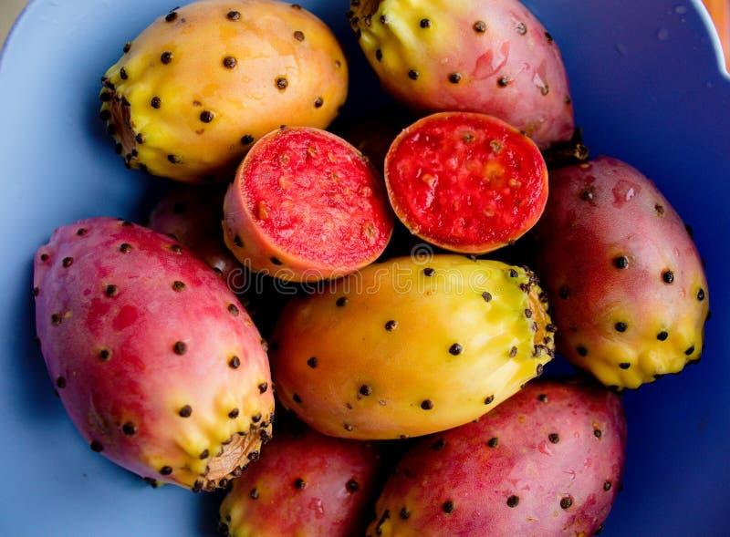 Ζωηρόχρωμα φρέσκα ώριμα φρούτα κάκτων τραχιών αχλαδιών στο κύπελλο Opuntia fichi δ ` Ινδία στοκ εικόνα