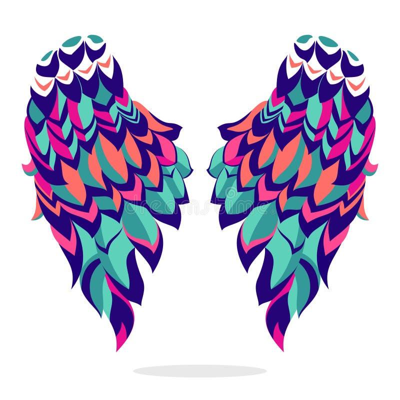 Ζωηρόχρωμα φτερά, σημάδι, σύμβολο, εικονίδιο, διανυσματική απεικόνιση όμορφα φτερά ελεύθερη απεικόνιση δικαιώματος
