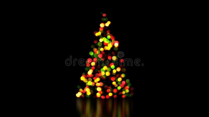 Ζωηρόχρωμα φω'τα χριστουγεννιάτικων δέντρων από την εστίαση απεικόνιση αποθεμάτων