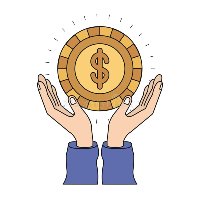 Ζωηρόχρωμα χέρια σκιαγραφιών με το επιπλέον χρυσό νόμισμα με το σύμβολο δολαρίων μέσα ελεύθερη απεικόνιση δικαιώματος