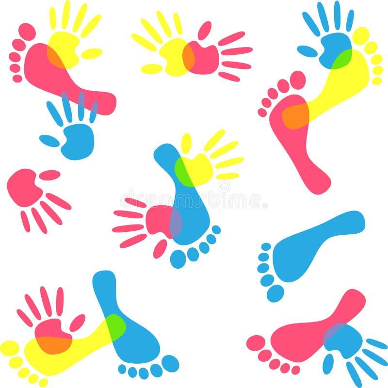 Ζωηρόχρωμα χέρι και πόδι τυπωμένων υλών απεικόνιση αποθεμάτων