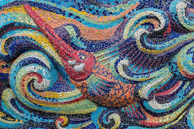 Ζωηρόχρωμα ψάρια μορφής τέχνης μωσαϊκών γυαλιού στοκ εικόνες με δικαίωμα ελεύθερης χρήσης