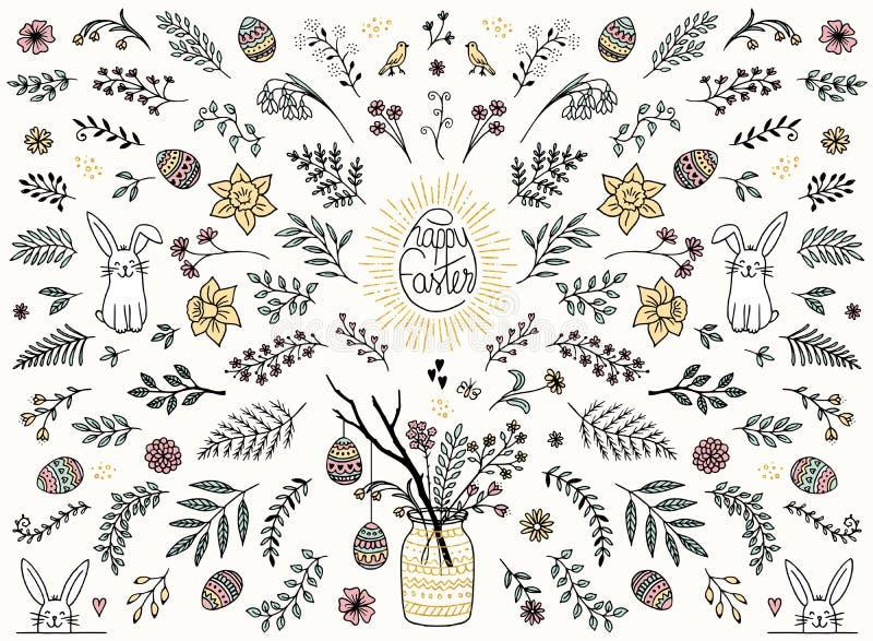 Ζωηρόχρωμα floral στοιχεία σχεδίου για Πάσχα διανυσματική απεικόνιση