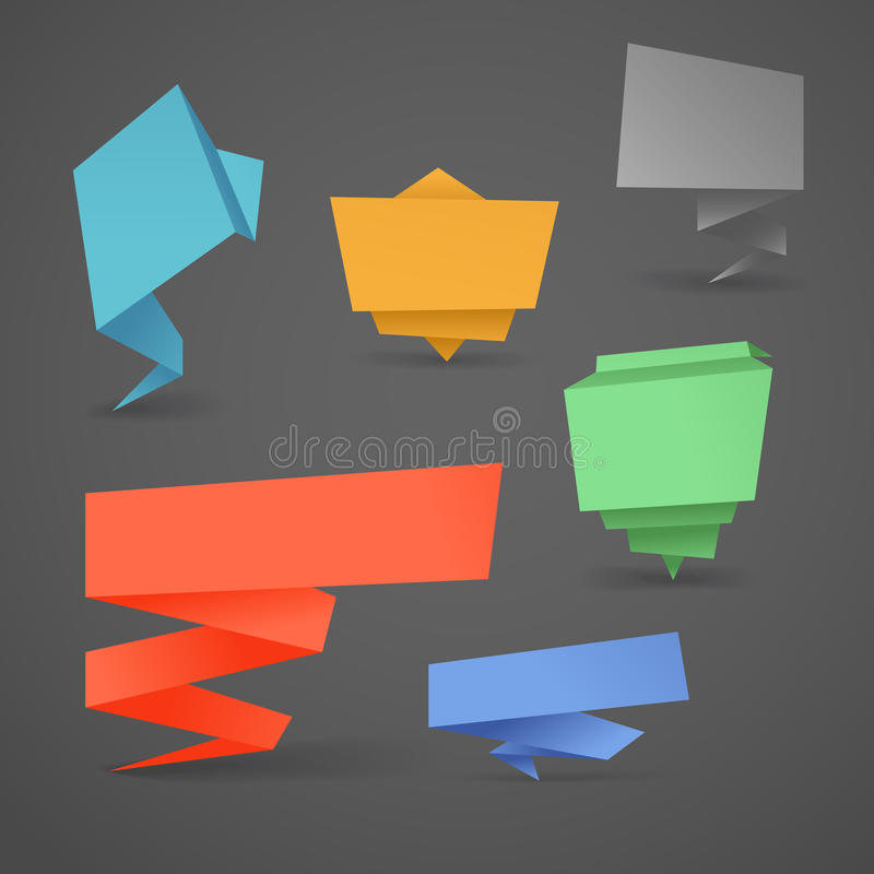 Ζωηρόχρωμα polygonal εμβλήματα origami καθορισμένα διανυσματική απεικόνιση