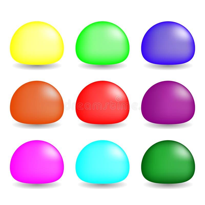 Ζωηρόχρωμα Slimes που τίθενται στο άσπρο υπόβαθρο Διάνυσμα που τίθεται για το σχέδιο, παιχνίδι Συλλογή των χαρακτήρων παιχνιδιών απεικόνιση αποθεμάτων