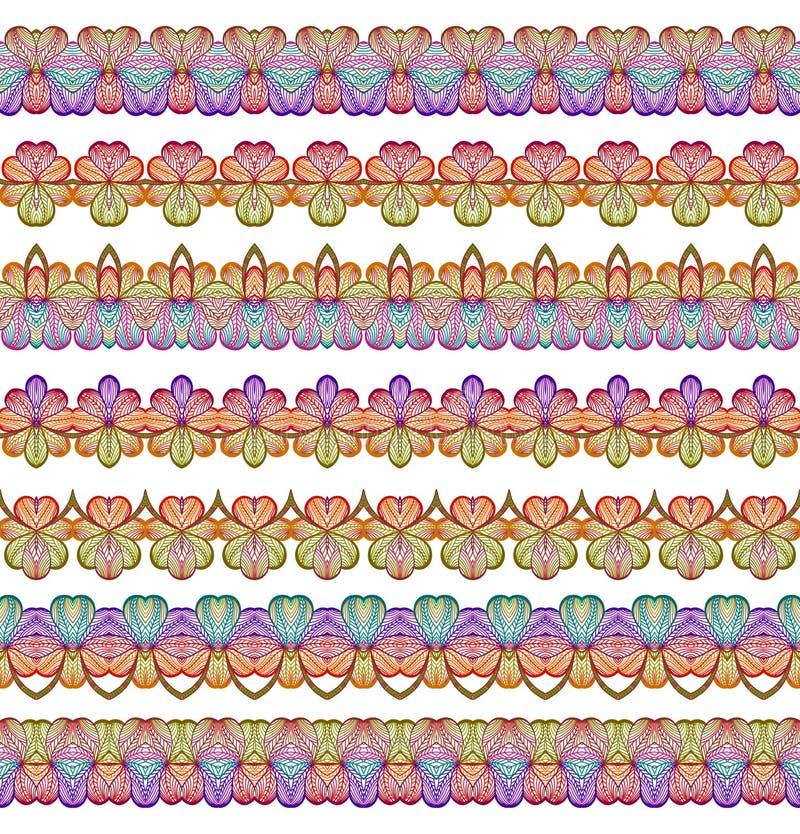 Ζωηρόχρωμες άνευ ραφής γραμμές συνόρων καθορισμένες Εθνικό ριγωτό υπόβαθρο σχεδίων στα φωτεινά χρώματα επίσης corel σύρετε το διά ελεύθερη απεικόνιση δικαιώματος