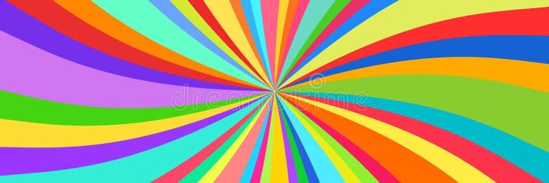 Ζωηρόχρωμες ακτίνες, έμβλημα καλειδοσκόπιων διανυσματική απεικόνιση