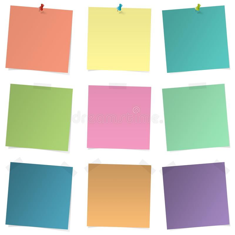 Ζωηρόχρωμες αυτοκόλλητες ετικέττες - σύνολο αυτοκόλλητων ετικεττών - σημειώσεις - noteboard - υπενθύμιση - για να κάνει τον κατάλ ελεύθερη απεικόνιση δικαιώματος
