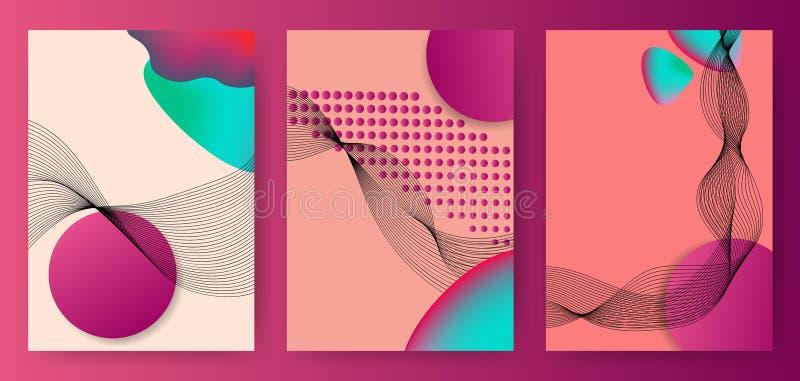 Ζωηρόχρωμες αφηρημένες αφίσες, καλύψεις, πρότυπα με τους κύκλους κλίσης, λεπτό κύμα καπνού γραμμών, ρευστή μορφή διανυσματική απεικόνιση