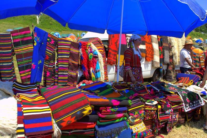 Ζωηρόχρωμες βουλγαρικές ριγωτές κουβέρτες στοκ εικόνα με δικαίωμα ελεύθερης χρήσης