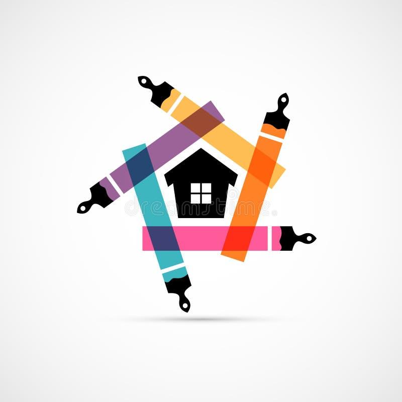 Ζωηρόχρωμες βούρτσες χρωμάτων με το εικονίδιο συμβόλων σπιτιών διανυσματική απεικόνιση