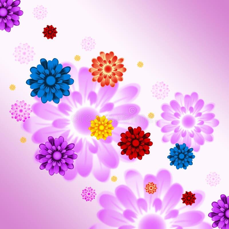 Ζωηρόχρωμες εγκαταστάσεις και κηπουρική μέσων υποβάθρου λουλουδιών απεικόνιση αποθεμάτων