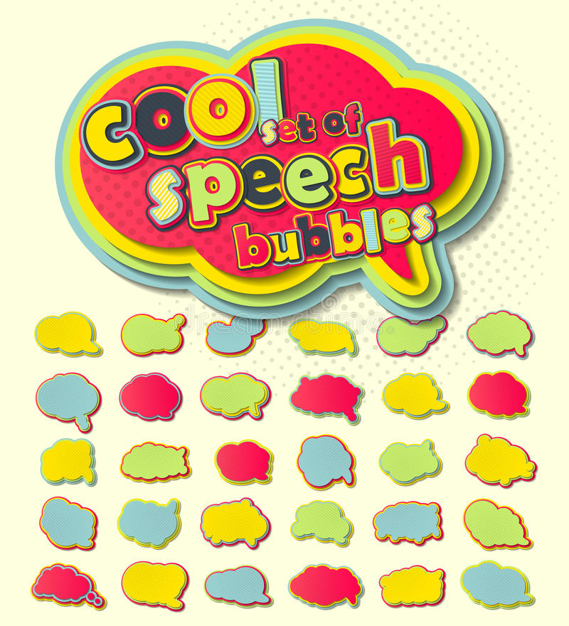Ζωηρόχρωμες λεκτικές φυσαλίδες, λαϊκό ύφος τέχνης Χρωματισμένες τρισδιάστατες αυτοκόλλητες ετικέττες διανυσματική απεικόνιση