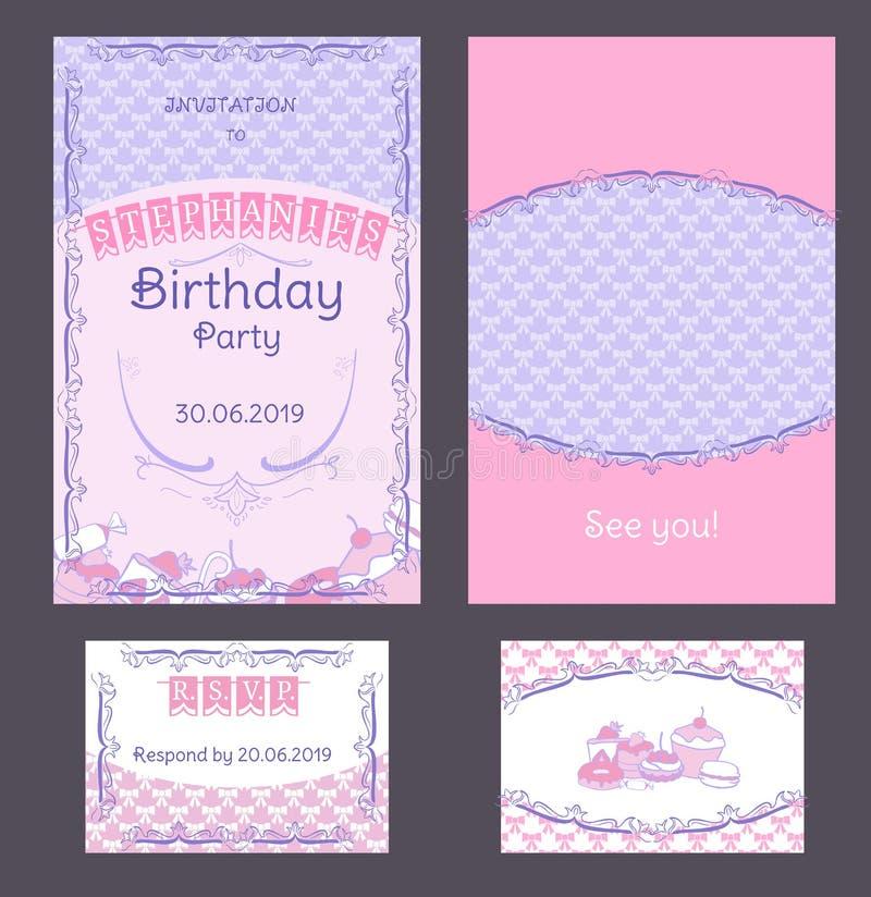 Ζωηρόχρωμες εκλεκτής ποιότητας κάρτες πρόσκλησης γενεθλίων καθορισμένες απεικόνιση αποθεμάτων