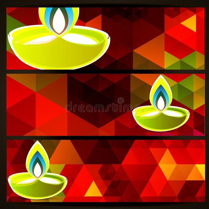 Ζωηρόχρωμες επιγραφές diwali διανυσματική απεικόνιση