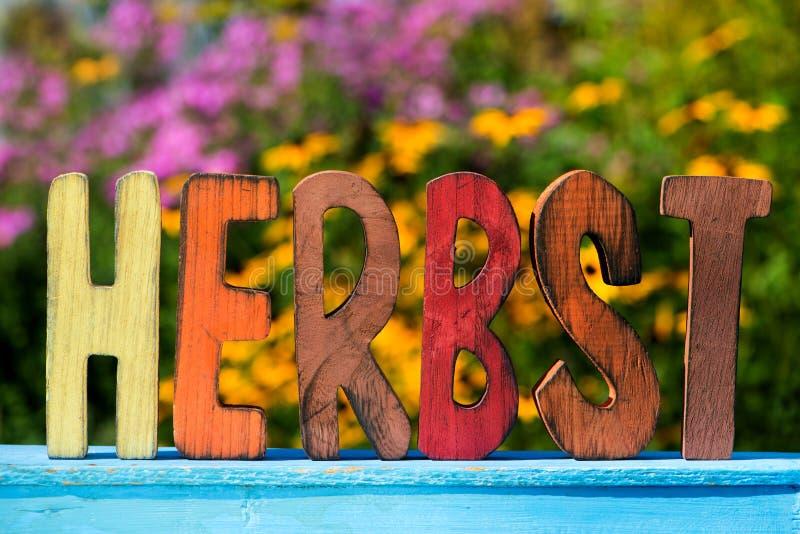 Ζωηρόχρωμες επιστολές φθινοπώρου φιαγμένες από ξύλο στοκ φωτογραφία με δικαίωμα ελεύθερης χρήσης