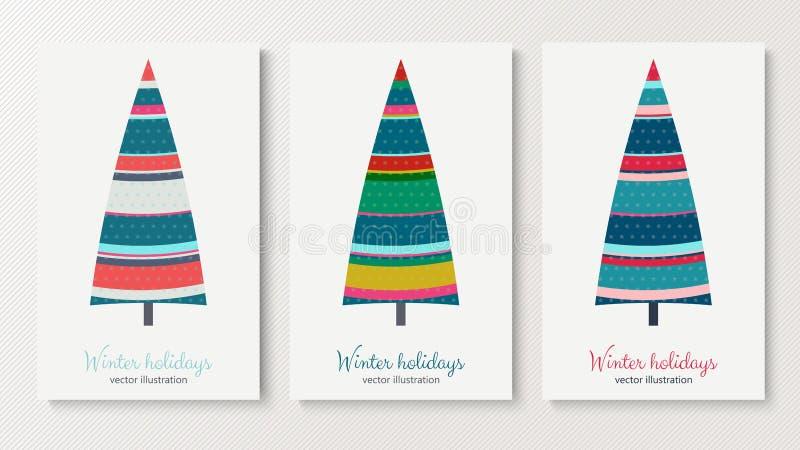 Ζωηρόχρωμες κάρτες δέντρων έλατου χειμερινών διακοπών καθορισμένες ελεύθερη απεικόνιση δικαιώματος