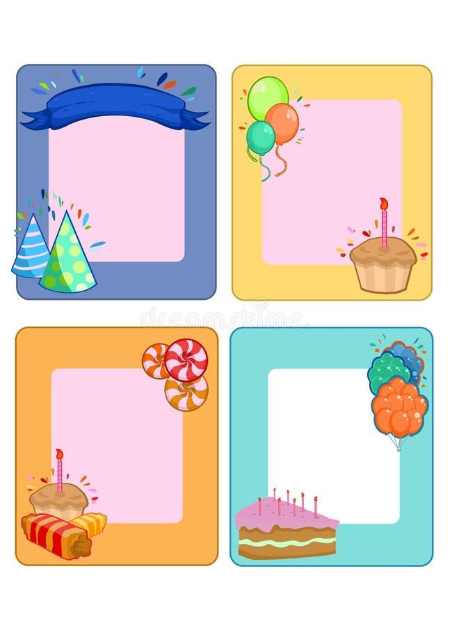 Ζωηρόχρωμες κάρτες πρόσκλησης γιορτής γενεθλίων καθορισμένες διανυσματική απεικόνιση