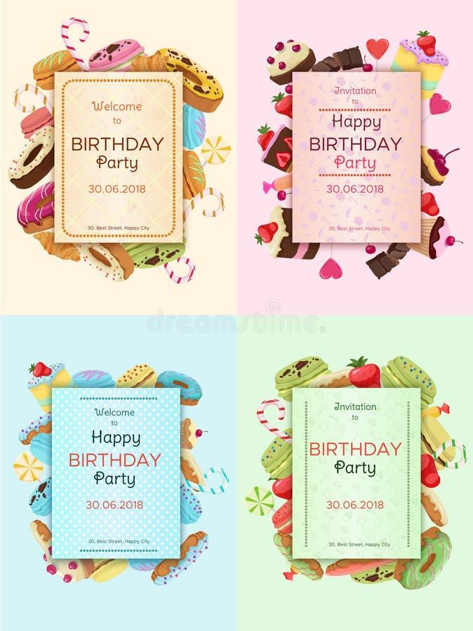 Ζωηρόχρωμες κάρτες πρόσκλησης γιορτής γενεθλίων ελεύθερη απεικόνιση δικαιώματος