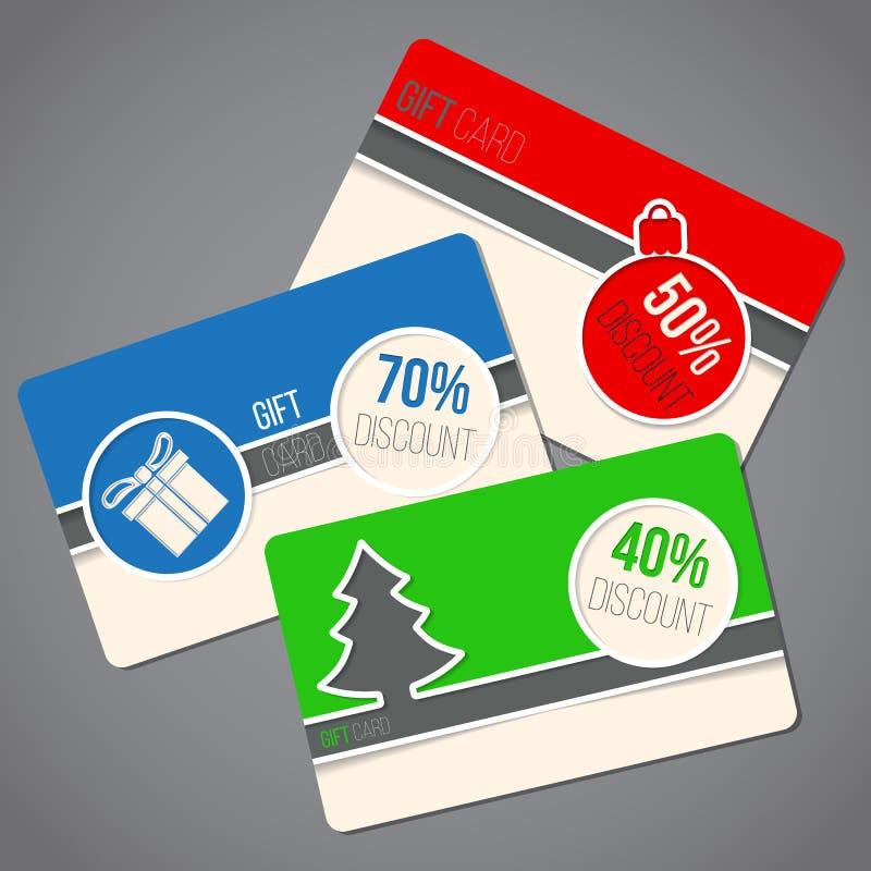 Ζωηρόχρωμες κάρτες δώρων Χριστουγέννων διανυσματική απεικόνιση