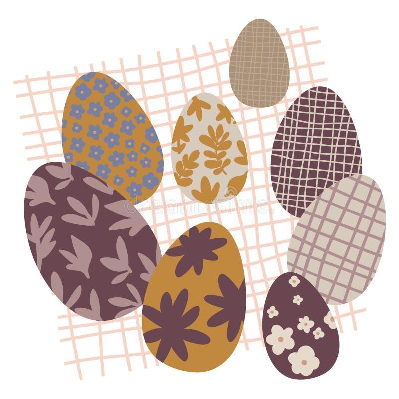 Ζωηρόχρωμες καθορισμένες διακοσμήσεις Doodle αυγών Πάσχας just rained Φωτεινά χρώματα απεικόνιση αποθεμάτων