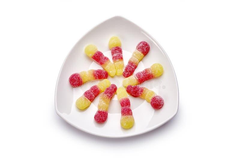 Ζωηρόχρωμες καραμέλες στο πιάτο στοκ εικόνες με δικαίωμα ελεύθερης χρήσης
