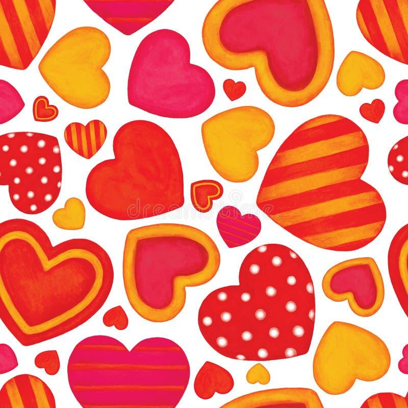 Ζωηρόχρωμες καρδιές watercolor Ανασκόπηση ημέρας βαλεντίνων ` s πρότυπο άνευ ραφής ελεύθερη απεικόνιση δικαιώματος