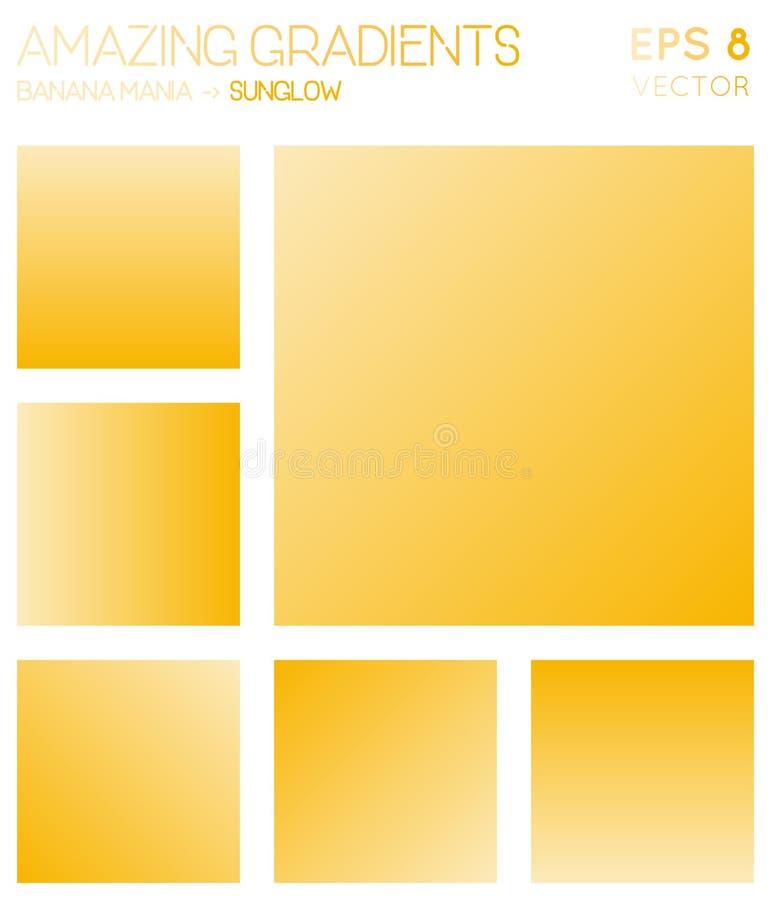 Ζωηρόχρωμες κλίσεις στη μανία μπανανών, sunglow χρώμα διανυσματική απεικόνιση