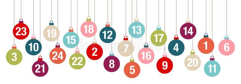 Ζωηρόχρωμες κρεμώντας σφαίρες Χριστουγέννων ημερολογιακών εμβλημάτων εμφάνισης εμβλημάτων ελεύθερη απεικόνιση δικαιώματος