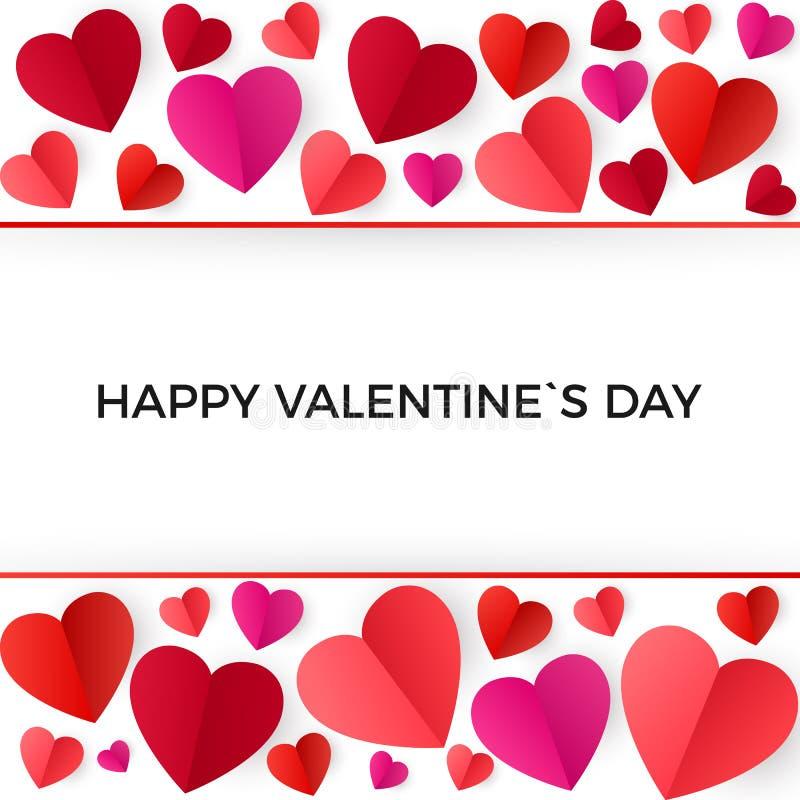 Ζωηρόχρωμες κόκκινες καρδιές εγγράφου ημέρα καρτών που χαιρετά τους ευτυχείς βαλεντίνους Διανυσματική απεικόνιση που απομονώνεται απεικόνιση αποθεμάτων