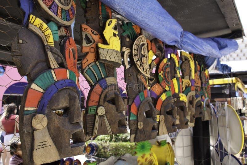 ζωηρόχρωμες μάσκες maya mayan Μεξ&i στοκ φωτογραφία με δικαίωμα ελεύθερης χρήσης