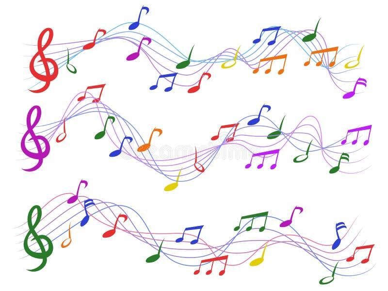 ζωηρόχρωμες μουσικές νότ&epsi διανυσματική απεικόνιση