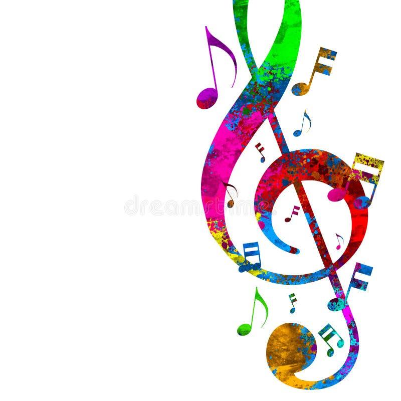 Ζωηρόχρωμες μουσικές προσωπικό και νότες απεικόνιση αποθεμάτων
