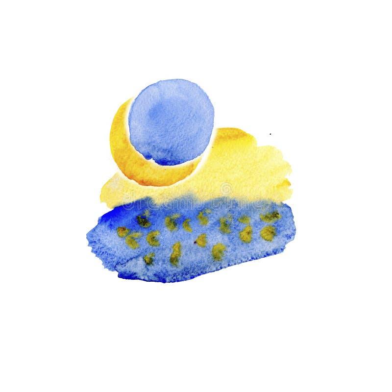Ζωηρόχρωμες μπλε και κίτρινες συστάσεις watercolor στο υπόβαθρο της Λευκής Βίβλου Χρωματισμένη χέρι αφηρημένη απεικόνιση διανυσματική απεικόνιση