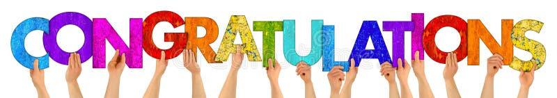 Ζωηρόχρωμες ξύλινες επιστολές συγχαρητηρίων στοκ φωτογραφίες με δικαίωμα ελεύθερης χρήσης
