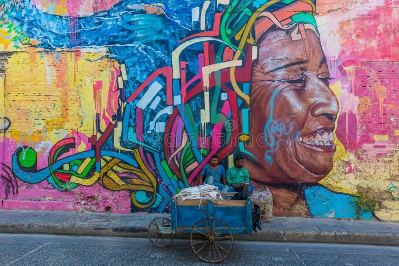 Ζωηρόχρωμες οδοί Getsemanir Καρχηδόνα de Los indias Bolivar Colo στοκ εικόνα